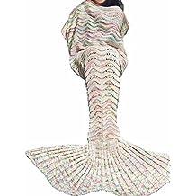 Cola de sirena manta, manta de sirena adultos, netchain cola de sirena manta para adultos y kidt, Crotchet de cola de la Sirenita infantil (para niñas, super suave mantas de dormir todas las estacione (Offwhite, 71x35.5)