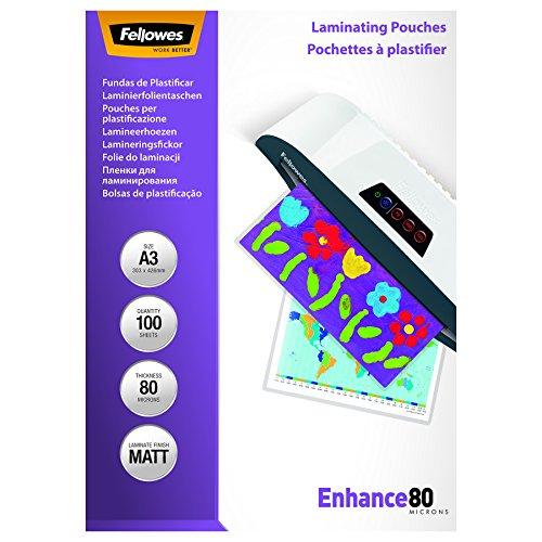 Preisvergleich Produktbild Fellowes 5452001 matte Laminierfolien Enhance 80 Mikron, DIN A3 (100er Pack)
