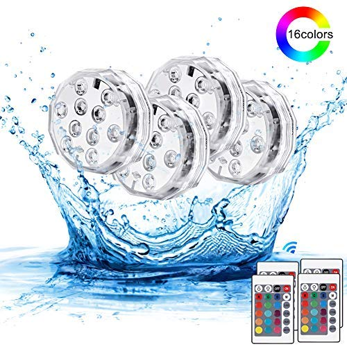 Haofy Unterwasser Licht, IP68 Wasserdichte RGB Multi Farbwechsel LED Leuchten, Version Tauch-LED-Licht für Indoor-Outdoor-Brunnen, Wasserfall, Spa, Aquarium, Badewanne, Vase, Unterwasserdekor