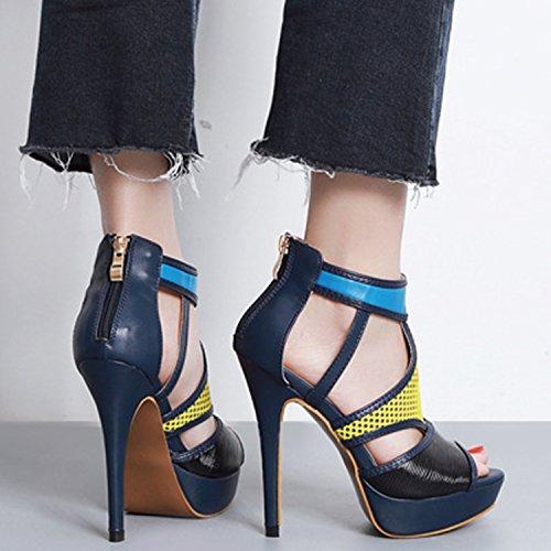 Oasap Damen Offen High Heels Kontrastfarbige Sandalen Black