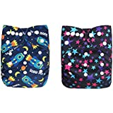 OSOCozee Cloth Diapers For Babies/Baby Diapers With Bamboo Charcoal Diaper Inserts Set Of Two Plus Two Extra Insert (StarRocket)