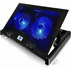 AAB Cooling NC80 - Refroidisseur PC avec 2 Ventilateurs, Inclinaison Réglable et Rétroéclairage Bleu | Ventilateur PS4 | Accessoire PC | Support Ventilé Pour Ordinateur Jusqu'à 17,3 Pouces et Consoles