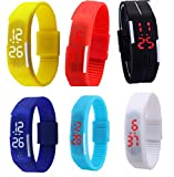 Glitter Collection LED Band watch 6 pcs combo pack for Return gift colour full best quality MGCMB006