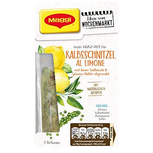 Maggi Ideen vom Wochenmarkt Würz-Mix Kalbs-Schnitzel al Limone (mit feiner Salbeinote und grünem...