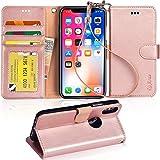 Arae Coque de Protection pour iPhone x, iPhone x Portefeuille Housse Coque Etui à Rabat en PU Cuir avec Support et Bar Carte Argent Compartiment