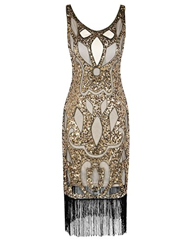 PrettyGuide Damen 1920 Sequin Art Deco Hohl Paisley Tribe Cocktail Flapper-Kleid Gold L