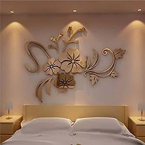 AMUSTER Mode Decorazione Domestica Della Decalcomania Murale Acrilica Dell'Autoadesivo Della Parete Smontabile Dell'Arte Floreale 3D (GOLD)