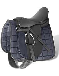 "90643 Horse Riding Saddle Set 16"" Real Leather Black 14 cm 5-in-1 - Untranslated"