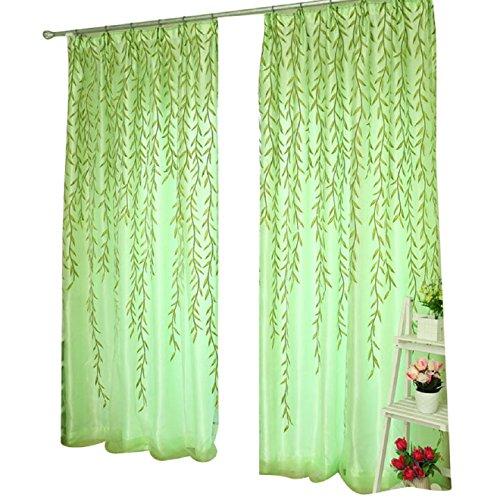 Malloom® sauce tul ventana de la puerta de la cortina cortinas panel de pura bufanda cenefas (200cm x 100 cm) (verde (green))