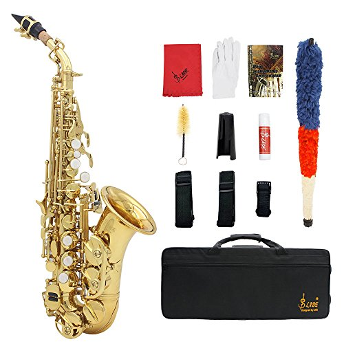 ammoon Lade Gold Brass Carve Motiv BB Bent Althorne Sopran Saxophon Tenor weiß Pearl Shell Tasten Instrument Wind mit Handschuhe Case Reinigungstuch Fett Belt Brush gold