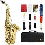 ammoon LADE Saxofón Bb Bend Althorn Soprano Sax Patrón Labrado Latón de Oro Botones Concha de Perla Blanca Instrumento de Viento con Estuche Guantes Paño de Limpieza Grasa Cepillo