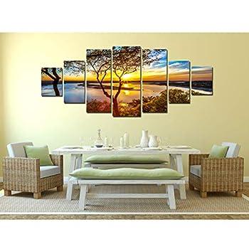 Startonight Huge Canvas Wall Art Large Sunrise On The Lake, Home Decor, Dual View Surprise Artwork Modern Framed Wall Art Set of 7 Panels Total 100 x 240 cm