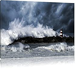 Pixxprint Tobendes Meer mit Leuchtturm als Leinwandbild | Größe: 120x80 cm | Wandbild | Kunstdruck | fertig bespannt