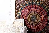 Marubhumi® tradizionale indiano hippie cotone arazzo, Rainbow boho hippie Beach Coverlet Curtain, da appendere alla parete, Boemia appeso a parete, Mandala Design, 215 x 235 CM