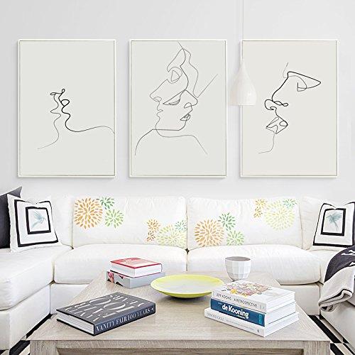 HY&GG Picasso Einfache Linie Kurve Schwarz Weiß Abstrakt Leinwand Gemälde Kunstdruck Poster Bild Wanddekoration Moderne Wohnkultur, 30 X 40 Cm Ohne Rahmen, 3Er Set Kiss Poster Abstrakte Gemälde