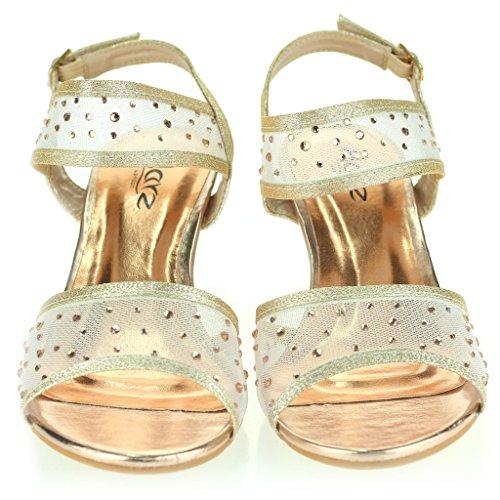 Femmes Dames Talon compensé Diamante Détail Slingback Été Soir Fête Mariage Bal de Promo De Mariée Des Sandales Chaussures Taille Champagne