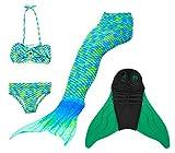Superstar88 Mädchen Cosplay Kostüm Badebekleidung Meerjungfrau Shell Badeanzug 3pcs Bikini