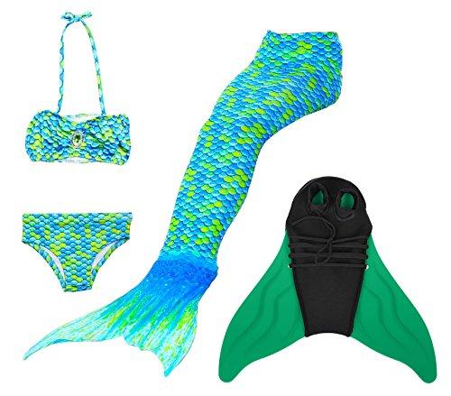 Superstar88 Mädchen Cosplay Kostüm Badebekleidung Meerjungfrau Shell Badeanzug 3pcs Bikini Sets Tolle Geschenksidee ! (120, HOPEFULL GREEN)
