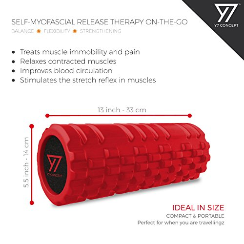 Y7-Concept-Foam-Roller-for-Deep-Tissue-Muscle-Massage-Trigger-Point-for-Back-Leg-Calf-with-Carry-Bag-Red