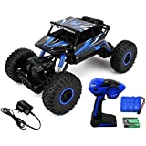 Famous Quality® Super High Speed New Look Off-Road Dirt Drift Waterproof Remote Controlled Rock Crawler RC Monster Truck, Four Wheel Drive, 1:18 Scale 2.4 Ghz (New-Blue)