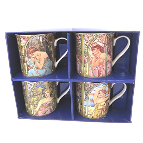 Les Trésors De Lily P5208 - Geschenkbox 'Alfons Mucha' jugendstil (4 tassen).