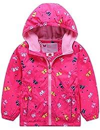 Mädchen Wasserdicht Jacke Übergangsjacke Regenjacke mit Fleecefütterung Kinder Warm Winddicht Atmungsaktiv Wanderjacke Outdoorjacke