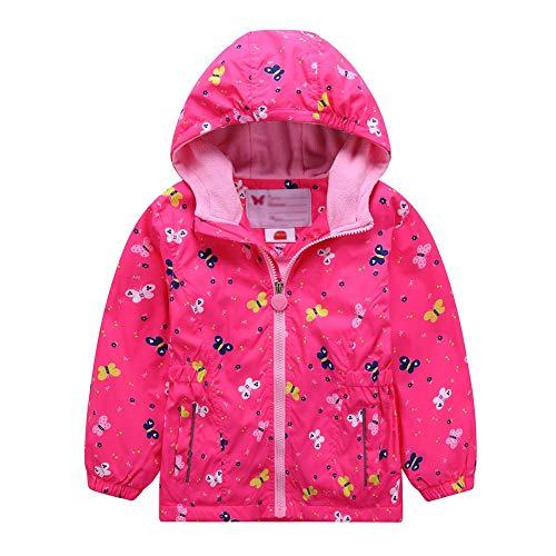 Mädchen Wasserdicht Jacke Übergangsjacke Regenjacke mit Fleecefütterung Kinder Warm Winddicht Atmungsaktiv Wanderjacke Outdoorjacke 122/128