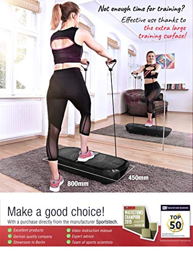 Sportstech-Professional-Vibration-Trainer-VP300-with-3D-Spiral-Technology-2x1000W-max-motor-power-Bluetooth-Music-Huge-Surface-Unrivaled-Design-Resistance-Bands-Remote-Control-Poster-Refurbished