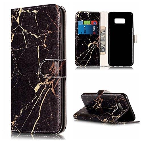 Cozy Hut Samsung Galaxy S8 Hülle, Premium Marmor Muster im Wallet Design mit Kartenfächer Magnetverschluss und Standfunktion Schutzhülle für Samsung Galaxy S8 - Schwarzes Gold Marmor
