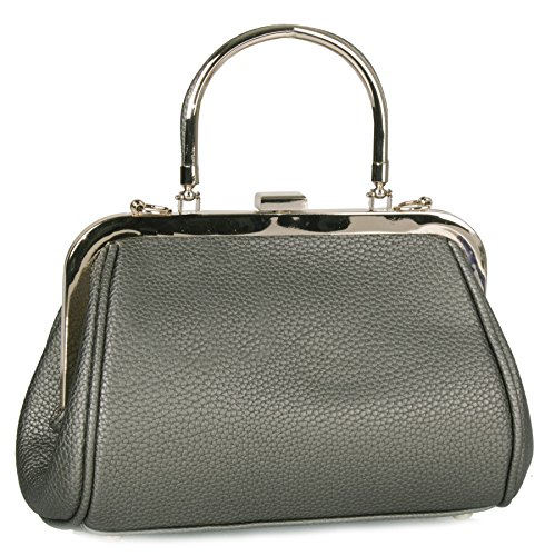 Big Handbag Shop - Borsa donna Metallic Grey