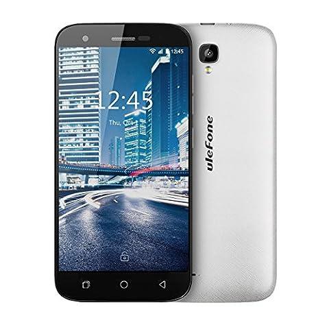 Ulefone U007PRO Smartphone téléphone portable Débloqué 4G sans forfait pas cher petit prix moins 100 euros 5.0 pouce HD écran,Android 6.0,MT6735 Quad core 1.0GHz, max13MP+5MP,Dual sim,GSM,WCDMA,FDD-LTE,wifi,GPS/Glonass,Batterie 2200mAh (Blanc)
