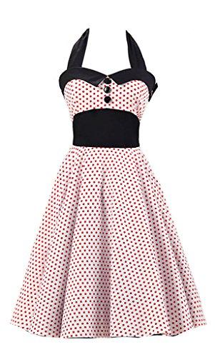 Eudolah Robe à pois Vintage boutonnée sur le devant robe patineuse soirée cocktail Hepburn style années 50 femme Blanc Rouge-U