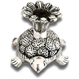 DreamKraft White Metal Silver Color Tortoise Candle Holder For Pooja And Home Decor