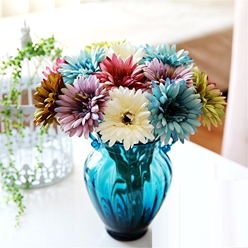 NOHOPE In stile continentale blu piccola orecchie goffrata trasparente vetro vasi di margherite Rose fiore di emulazione moderni vasi di fiore Kit Home Arredo fiore - Delphinium Vaso