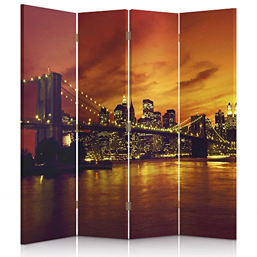 Feeby Frames Il paravento Stampato su Telo,Il divisorio Decorativo per Locali bilaterale VERDO 110x150 cm Coccinella a 3 Parti Rosso