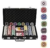 Display4top Super Set da Poker - 300 Chips Laser da 12 Grammi con Centro in Metallo,2 mazzi di Carte, mazziere, Piccoli ciechi, Grandi Pulsanti ciechi e 5 Dadi (300 Chips)