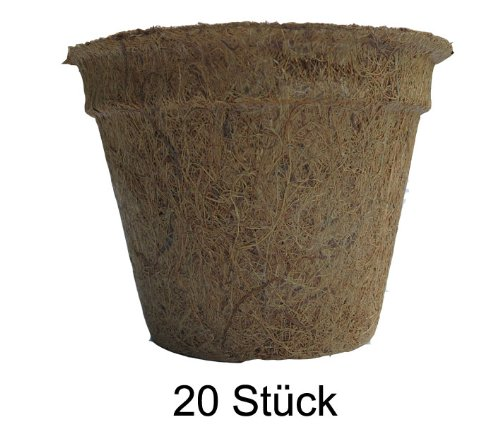 Pflanztöpfe aus Kokosfaser 0,50 Liter (Höhe 9 cm/ Ø oben 12 cm), 20 Stück (Preis je Stück: 0,99 Euro), Kokostöpfe, Anzuchttöpfe, Aussaattöpfe,Naturmaterial