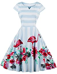 ZAFUL Mujer Vintage Vestido de Cóctel Fiesta Años 50s Audrey Falda A-Line S-4XL
