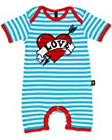 Rockabye-Unisex Baby Loveheart Suit Short Sleeve All-In-One (Blue/White)