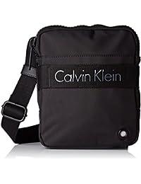 Calvin Klein Jeans Madox Mini Flat Crossover, Bolsa para Hombre, Negro (Black), 4 x21 x17 cm (B x H x T)