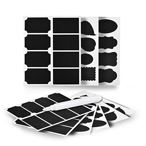 newcomdigi-48-pezzi-etichette-lavagna-adesive-stickers-memo-impermeabile-riutilizzabile-con-1-pennar