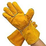 Sicherheits-Arbeitshandschuhe, Schweißhandschuhe, hitzebeständiges Rindsleder, Koch-Handschuhe, Nähte, Schweißerhandschuhe, Hitzebeständig für Ofen, Feuer, Grillhandschuhe, gelb