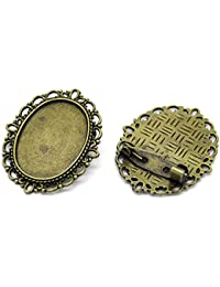 Housweety 10 Supports de Broche Epingle Bronze Ovale 3.6x2.9cm(Fit 25x18mm)