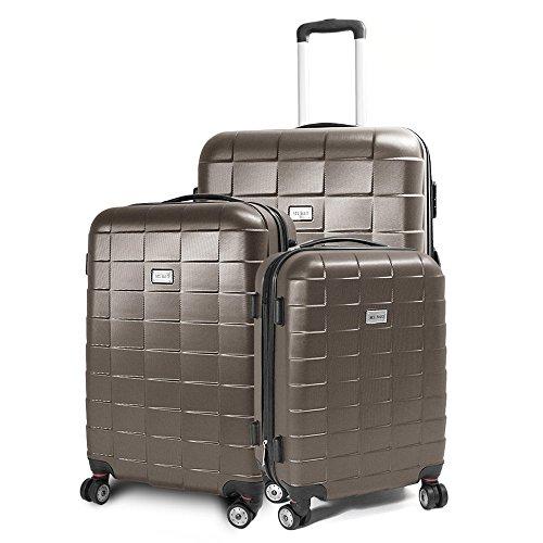 Kofferset 3-teilig Reisekoffer Koffer Trolley Hartschalenkoffer ABS Teleskopgriff Modell Squares (Braun)