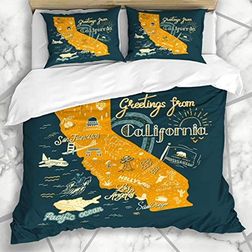 Soefipok Bettwäschesets Hollywood America Hand Drawn California Karte Tourist Adventure Angeles Atlas Bärenbrücke Cactus Road Mikrofaserbettwäsche mit 2 Kissenbezügen
