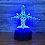 Luce notturna 3D luce notturna 7 aeromobili a colori LED decorazione della casa cambio colore tabella USB USB camera da letto luce notturna regalo aereo