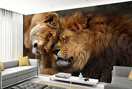 WH-PORP Photo tapete Hd 3D Domineering Lion Animal Photography Tv Background Wall Large Mural Living Room-200cmX140cm