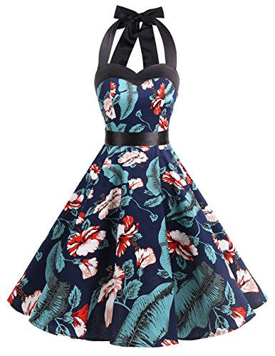 Dresstells Neckholder Rockabilly 50er Vintage Retro Kleid Petticoat Faltenrock Navy Flower XS