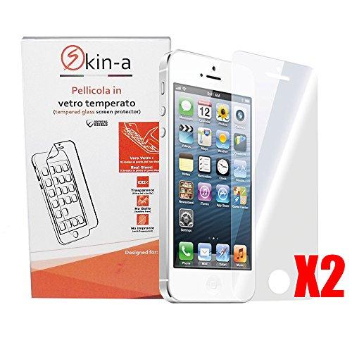 [X2Pack] skin-a ® Displayschutzfolie aus gehärtetem Glas für Apple iPhone 5/5S Iphone Skin Pack