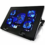 AAB Cooling NC71 - Laptop Kühler mit 5 Lüftern, Einstellbare Neigung und Blau Hintergrundbeleuchtung | Notebook Ständer | Laptop Halterung | Laptop Unterlage für Laptops bis 15,6 Zoll und PS4 PRO / XBOX Consolen | Notebookständer
